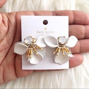 Kate Spade Vibrant Life White Leather Earrings